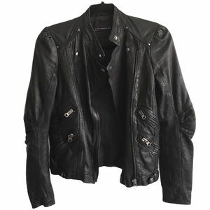 ZARA Woman Leather Biker Jacket Black XS